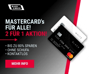 Black&White Prepaid Mastercard: 2 für 1 Aktion!